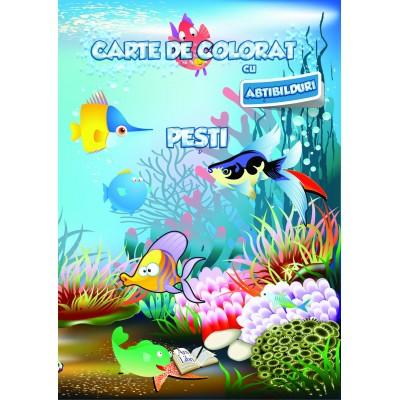 Carte de colorat cu abțibilduri - Pești