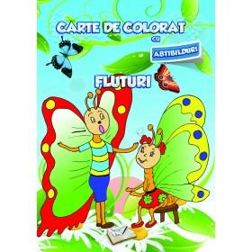 Carte de colorat cu abțibilduri - Fluturi