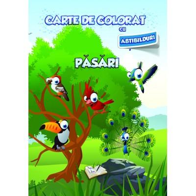 Carte de colorat cu abțibilduri - Păsări