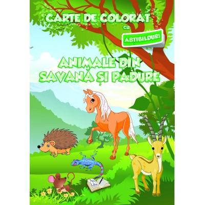 Carte de colorat cu abțibilduri - Animale din savană și din pădure