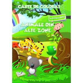 Carte de colorat cu abțibilduri - Animale din alte zone