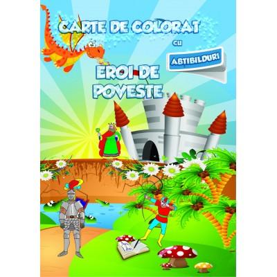 Carte de colorat cu abțibilduri - Eroi de poveste