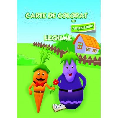 Carte de colorat cu abțibilduri - Legume