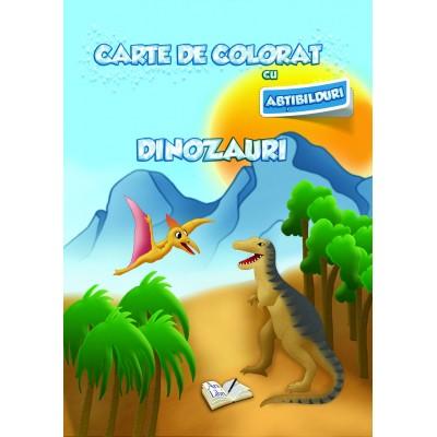 Carte de colorat cu abțibilduri - Dinozauri