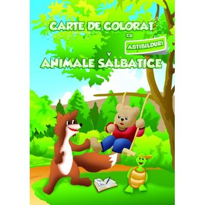 Carte de colorat cu abțibilduri - Animale sălbatice