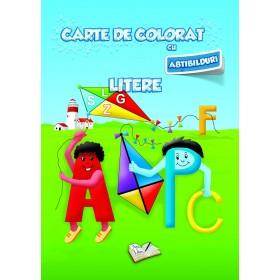 Carte de colorat cu abțibilduri - Litere