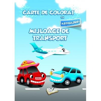 Carte de colorat cu abțibilduri - Mijloace de transport