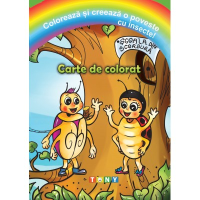 Colorează și creează o poveste cu insecte!