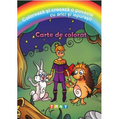 Colorează și creează o poveste cu arici și iepurași!