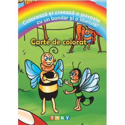 Colorează și creează o poveste cu un bondar și o libelulă!